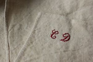 Antique-French-tea-guest-kitchen-towel-CD-monogram-linen-c1900-washed-lovely