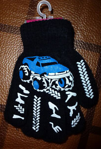 Jungen-Winter-Handschuhe-Truck-Monstertruck-Auto-schwarz-blau-Einheitsgroesse-NEU