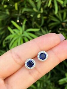 1-25Ct-Round-Cut-Blue-Sapphire-14K-White-Gold-Finish-Women-039-s-Halo-Stud-Earrings