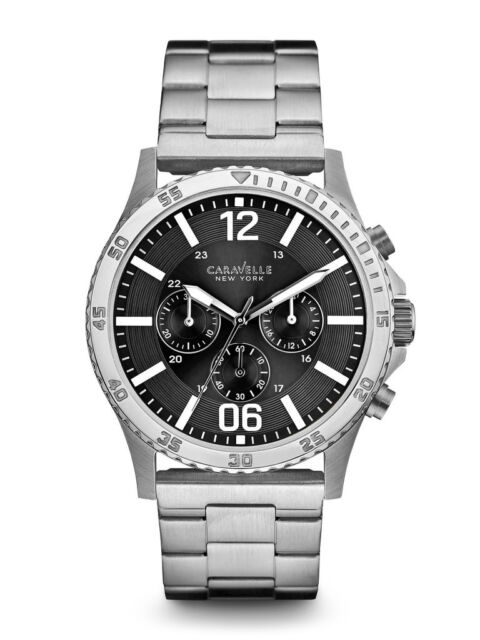 3d19b8b2e Bulova CARAVELLE Mens Stainless Steel Watch Gray Dial Chronograph 43A115