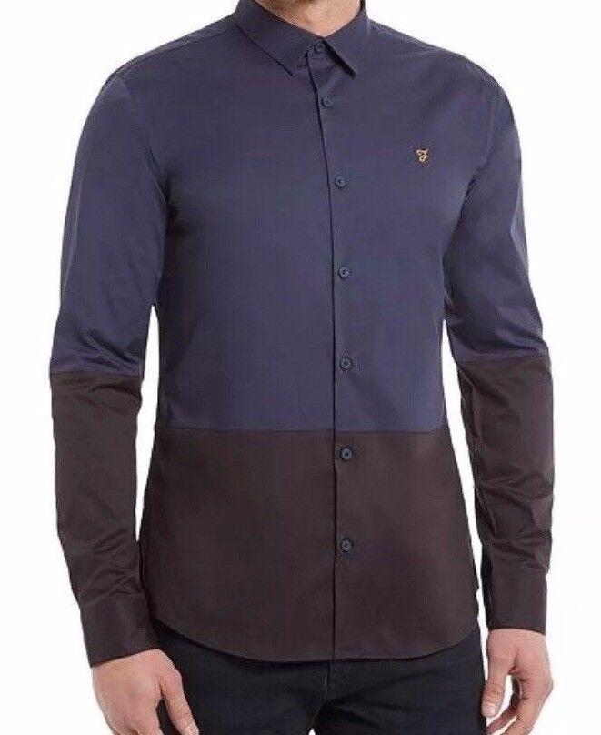 Farah Baxter Slim T-Shirt manica lunga blu blu blu cotone nera casual, da lavoro S NEW fa63b5
