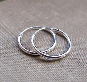 100% autentico dab1e 87aa1 Dettagli su Spesso 2 mm Argento 925 Orecchini A Cerchio - Misura 10 - 14 mm  Nuova