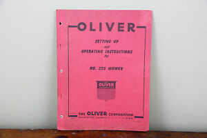 Oliver-No-355-Mower-Tractor-Operator-039-s-ORIGINAL-Vitnage-Service-Parts-Manual