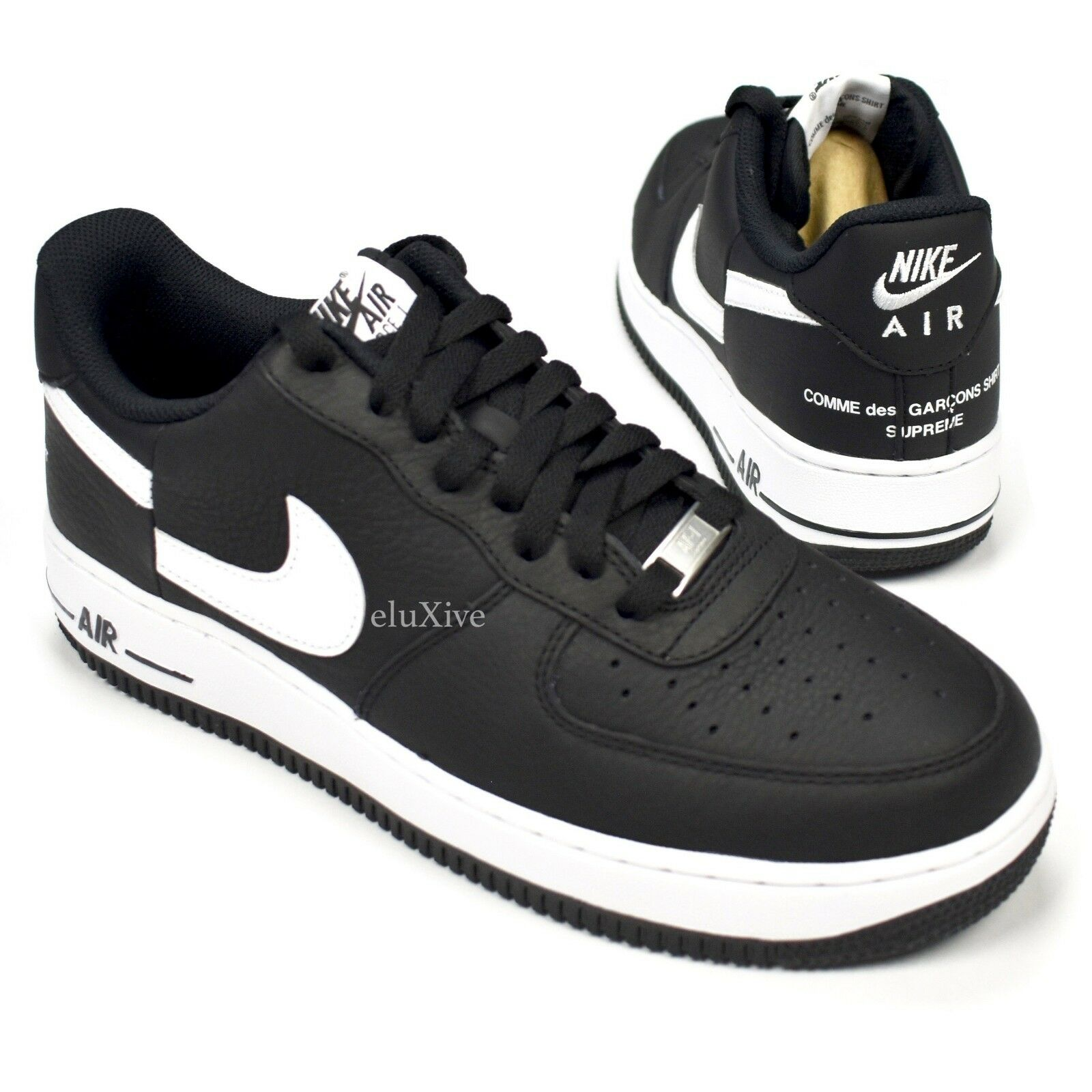 NWT Supreme Comme des Garcons Nike Air Force 1 CDG Black Split Logo 9 AUTHENTIC