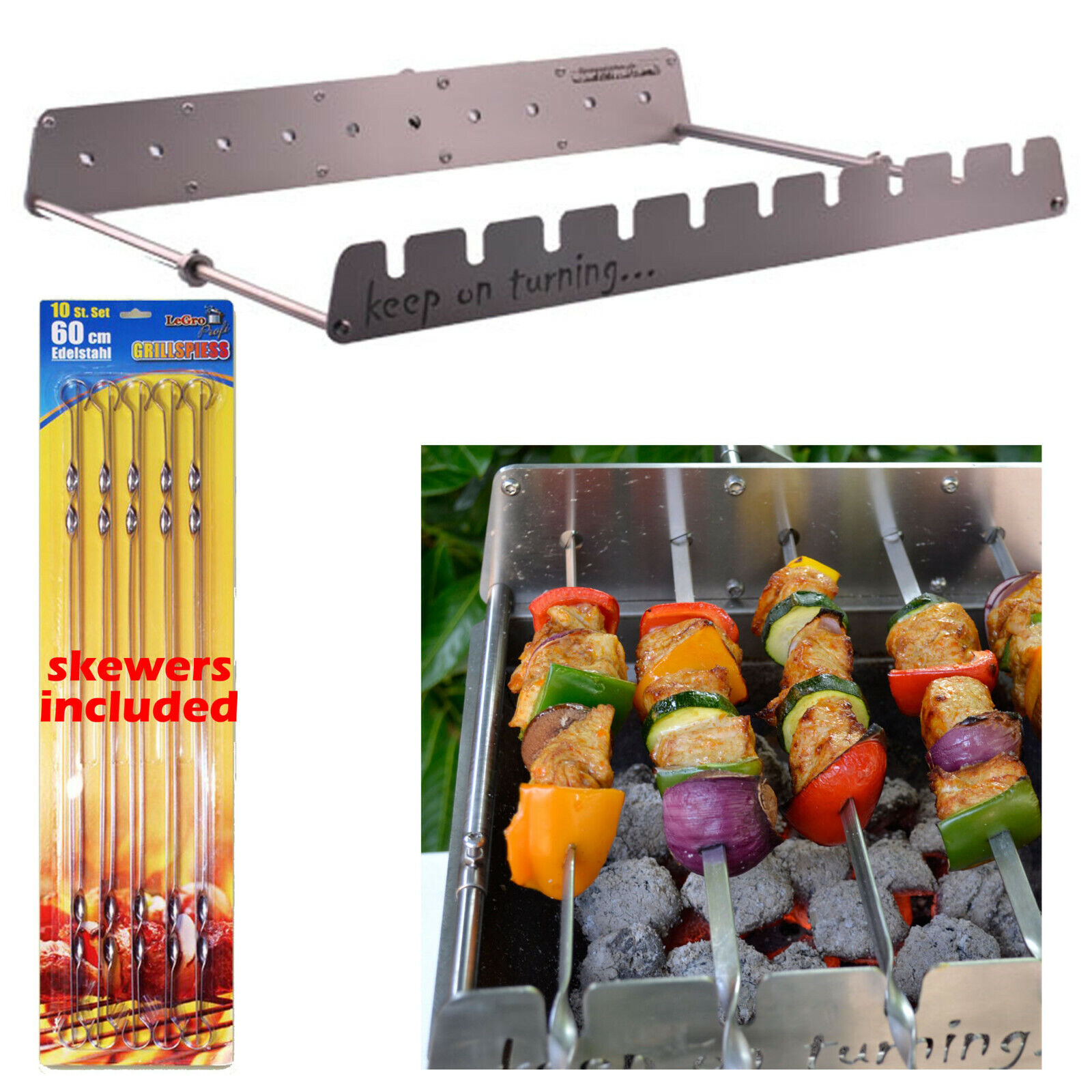 10 Skewer Rotisserie Rack Grill Automatic Rotating Motor Operated BBQ Kit