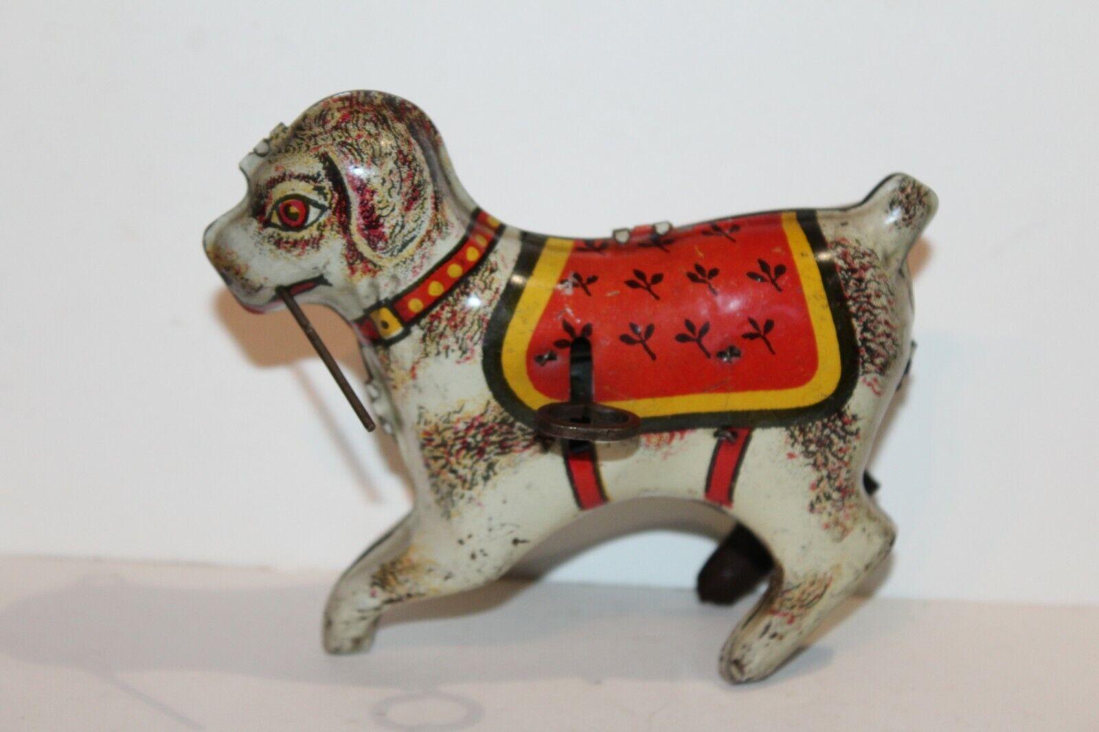 VERY NICE VINTAGE TIN LITHO WIND UP CIRCUS DOG