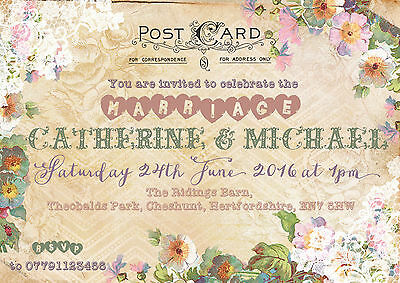 PERSONALISED RUSTIC VINTAGE LACE FLORAL POSTCARD WEDDING INVITATIONS PACKS OF 10