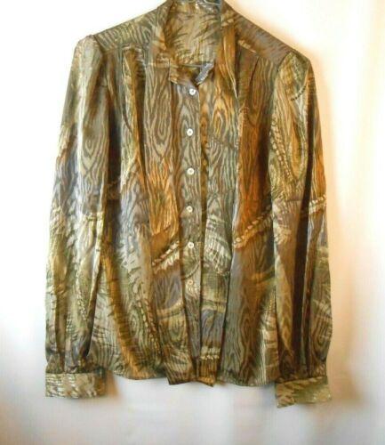 Vintage Khaki Blouse Size Small Olive Green Unbran