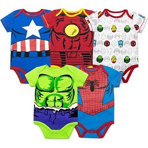 Marvel Avengers Baby Boys 5 Pack Bodysuits Hulk Spiderman Iron Man Thor /& Captain America