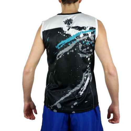 Details about  /Turquoise Tank Top Sleeveless beach tennis Man Blue Black Polyester