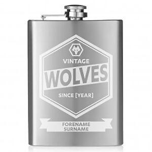 Wolverhampton Wanderers F.C - Personalised Hip Flask (VINTAGE)
