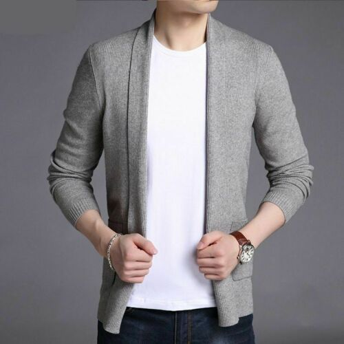 Long Slim Fit Cardigan Sweater Autumn Knitted Jumper Men Casual Clothes Pockets