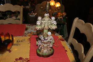 Antique-Majolica-Candelabra-Table-Lamp-Man-Woman-Courting-Colorful-Capodimonte