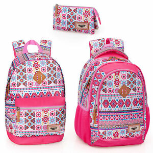 El-Charro-Pink-Ethnic-Rucksack-Backpack-Travel-Work-Holiday-Laptop-School-Bag