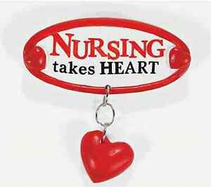 1 Nurse Pin w/Heart dangle NEW Free S/H when u buy 6 items from my store:-)