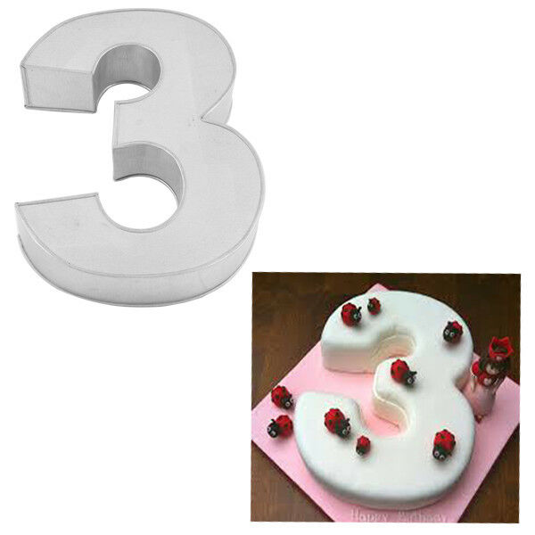 Large Number Three Birthday Wedding Anniversary Cake Tins  Pans  Mould by Falcon