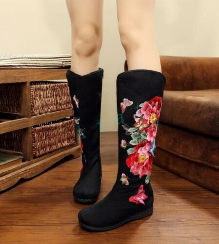 Details about  /Womens Chinese Style Floral Printed Flat Heels Knee HIgh Boots Casual Shoes Size