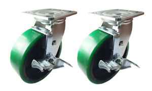 2-Caster-4-034-5-034-6-034-8-034-G-Polyurethane-on-Cast-Iron-Rigid-Swivel-Brake-Total-Lock