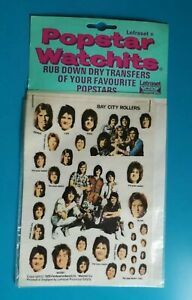 Popstar-Watchits-BAY-CITY-ROLLERS-Letraset-Rub-down-Transfers-1975