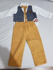 Baby Boy Smart Mariage Tenue Top Pantalon Cravate 18 Mois 100% Coton-afficher Le Titre D'origine Forfaits à La Mode Et Attrayants