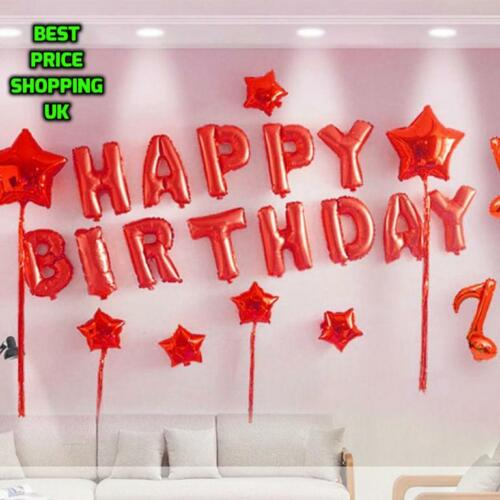 """Large /""""HAPPY BIRTHDAY/"""" Party Baloons Decoration Foil Balloon Gold Self Inflating"""