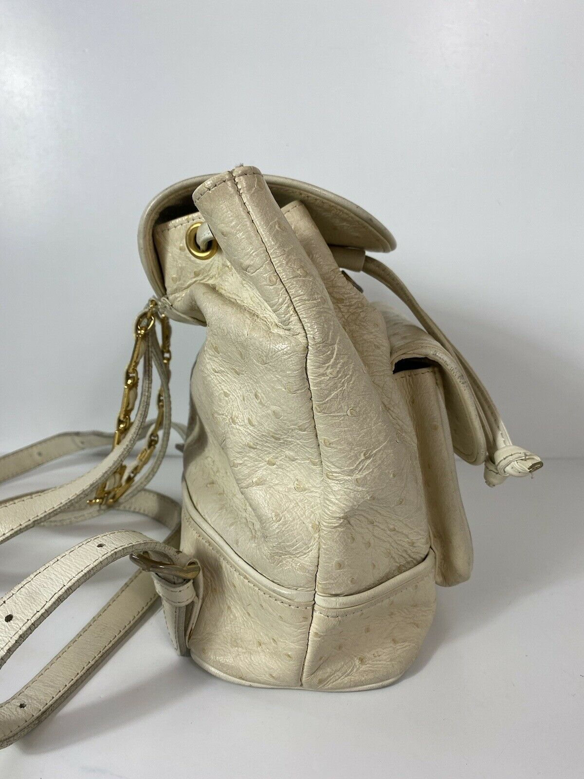 RARE VTG GIANNI VERSACE 90S WHITE OSTRICH BACKPACK - image 3