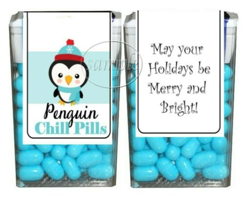 Christmas Stocking Stuffers Penguin Chill Pills Tic Tac Labels Stickers 14 CT