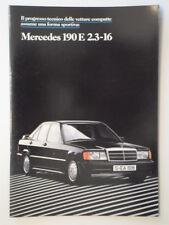 MERCEDES BENZ 190E 2.3-16 orig 1984 Italian Mkt Sales Brochure Prospetto