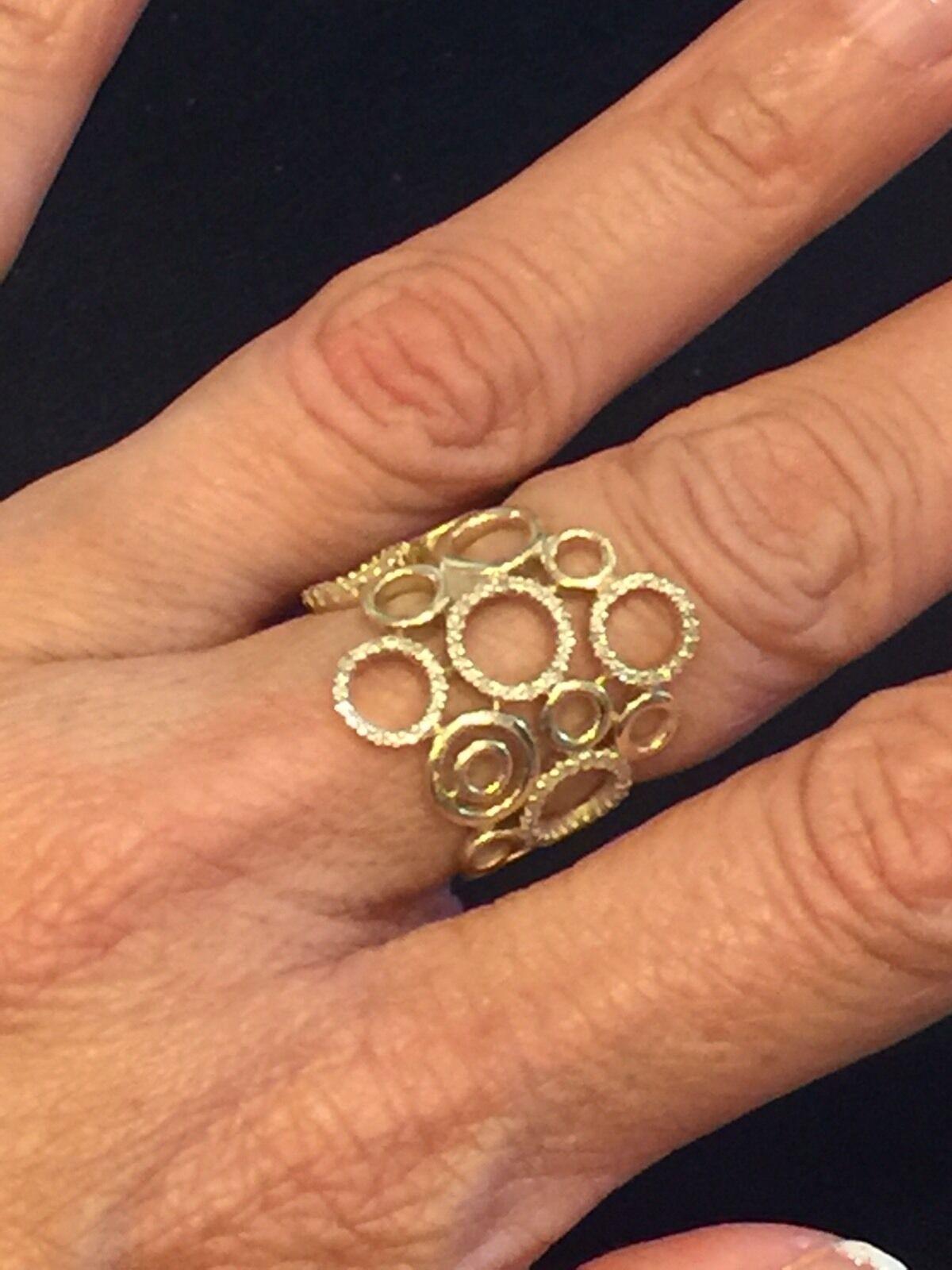 0.29ct Pavé Diamonds 14K Yellow gold Cluster Circles Motiff Ring - Size 5.25