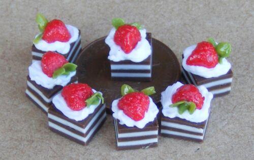 Échelle 1:12 7 loose Fraise Cupcakes tumdee maison de poupées miniature dessert PL10