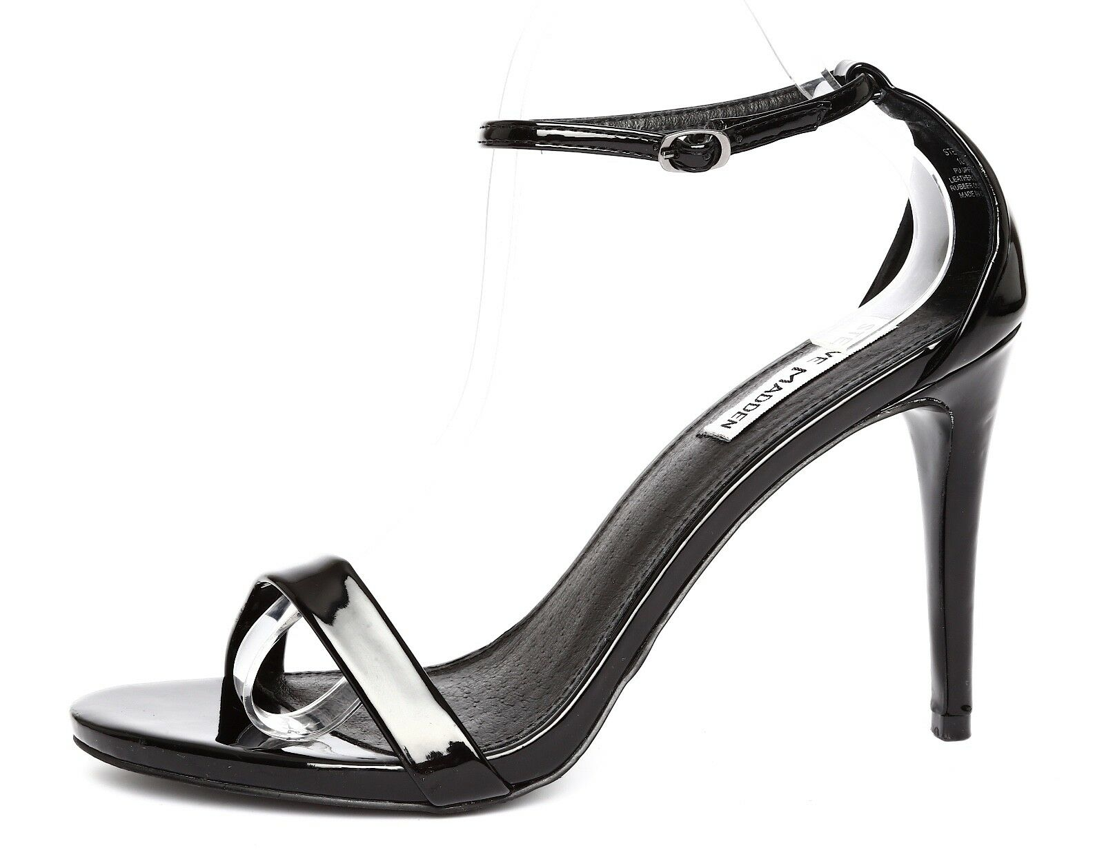 Steve Madden Stecy Patent Leather Black Ankle Strap Sandal Heels Sz 10M 7613
