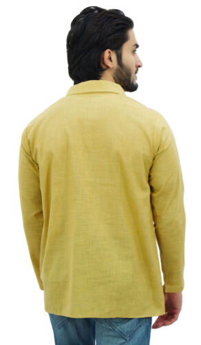Atasi Homme Beige Kurta Roll-over Shirt Col Cou Ethnic Indian Clothing