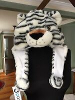 Panda Hats Plush Made In Paradise White Black Tiger Bomber Hat - One Size