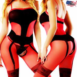 Sheer-Bodystocking-Lingerie-Women-Bodysuit-Red-Hot-Sleepwear-Nightwear-Babydoll