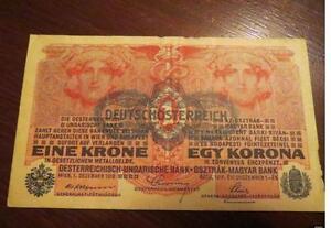 1-KRONE-DEUTSHCE-AUSTRIA-1916-High-grade-Banknote-old-rare-collector-note