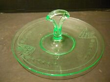 Depression Green Glass Handled Sandwich Tidbit Tray Etched Design Paden City
