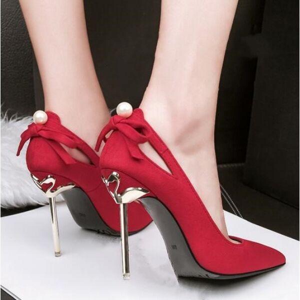Decolte chaussures  eleganti rouge perle tacco 10 stiletto pelle sintetica CW052