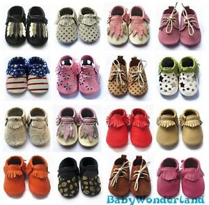 Details about Soft Sole 100% Leather Baby Infant Boys Girls Shoes Prewalkers Size 00,0,1,2
