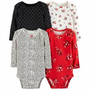 Carter-039-s-4-Pack-Long-Sleeve-Floral-Bodysuits-Set-Baby-Girls-3-6-months-NEW-NWT