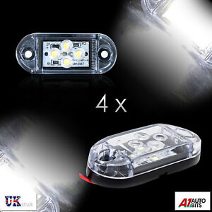 4x-12v-4-Smd-Led-Front-Side-Marker-White-Lights-Trailer-Caravan-Truck-Van-Dot