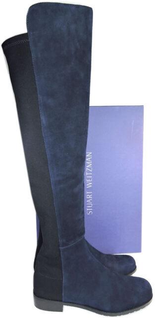 7b4e0252ade Stuart Weitzman 5050 Over Knee Boots 5050 Nice Blue Suede Flat Booties Shoe  9