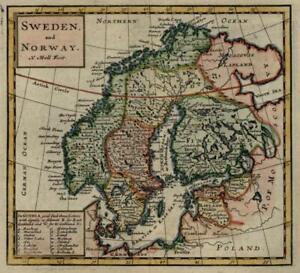 Scandinavia-Sweden-Norway-Finland-Gothia-Lifland-1713-Moll-miniature-map-lovely
