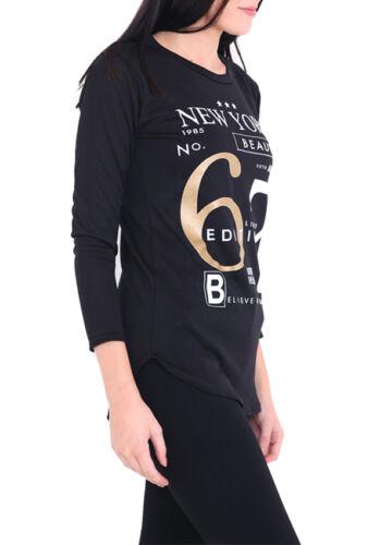 Womans Long Sleeve New York Beauty No.67 Limited Edition Melange Curve Hem Top