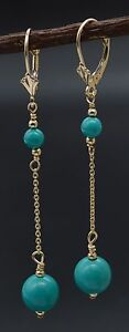#BE-178 New 14K Solid Gold Natural Turquoise Drop/Dangle Leverback Earrings
