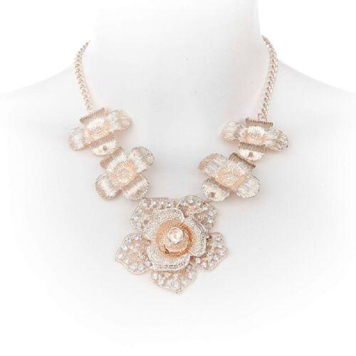Cadena collar cadena breve Collier flor rosa varios colores