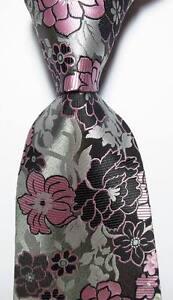New-Classic-Floral-Gray-Black-Pink-JACQUARD-WOVEN-100-Silk-Men-039-s-Tie-Necktie