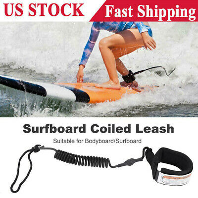 10ft Surfboard Ankle Leash Rope Coiled Stand Up Paddle Board Surfing Cord String