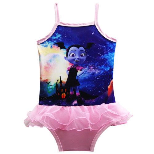 Gift Kids Girl Vampirina One Piece Swimwear Tutu Skirt Dress Bath Suit 3-9 Years