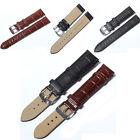 Unisex Soft Genuine Leather Strap Steel Buckle Wrist Watch Band Strap 12mm-24mm