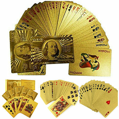 Gold Silver Plated Shiny Playing Cards US Dollar EURO Game Poker Deck